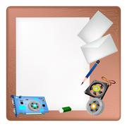 Stock Illustration of Computer Hardware on A Blank Page and Envelope