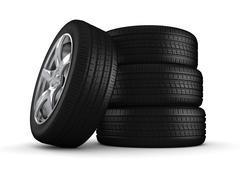 Four tires isolated close-up (3d isolated on white background objects series) Stock Illustration
