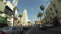 POV Driving Down Hollywood Boulevard in Los Angeles on Circa 2014 Stock Footage