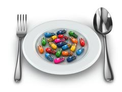 Dietary supplements. variety pills. vitamin capsules on plate. Stock Illustration