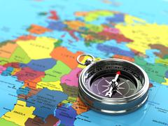 Silver compass  on world map background. Stock Illustration