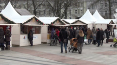 Christmas fair offering for people  decorations delicacies Stock Footage