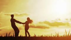 Love Couple Sunset Silhouettes Vacation Happiness Concept Stock Footage