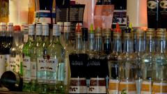 Bottles with an alcohol at a bar. Stock Footage