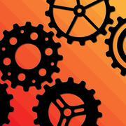 Five Gearwheels Stock Illustration