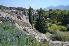 landscape pompeii vesuvius - stock photo