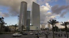 Tel Aviv Azrieli towers junction sunset time lapse - stock footage