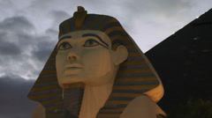 LAS VEGAS, CIRCA 2014: Statue of Sphinx from Luxor Hotel Casino - stock footage