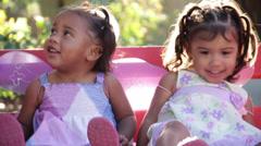 Pretty girls on swing Stock Footage