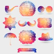 Vector hipster background made of geometric pattern. retro labels design. squ Stock Illustration