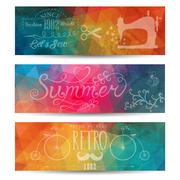 Grunge vector banner. abstract header vector background. triangle seamless ba Stock Illustration