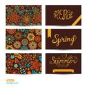 Stock Illustration of vector set of three horizontal business cards. summer banners. floral pattern
