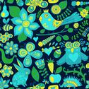 Stock Illustration of vector forest seamless pattern. floral background.owl, rabbit, butterfly, hed