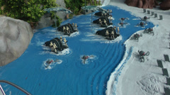 Kashyyyk & Mustafar of Starwars designed with Lego on Carlsbad, USA Stock Footage
