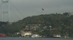 Istanbul - Ataturk bridge, ship passing Stock Footage