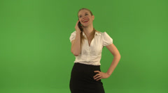 Young woman funny on the phone. Chroma Key Stock Footage
