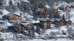 Allos Village Chalets in Winter Stock Footage