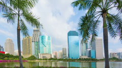 tall skyscrapers of bangkok downtown. thailand, lumpini park - stock footage
