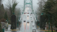 Stock Video Footage of Lions Gate Bridge Rain, Commuter Traffic