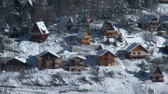 Allos Village Chalets in Winter 2 Stock Footage