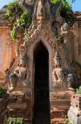 guardians in ancient burmese buddhist pagodas - stock photo
