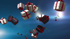 Valentines or Christmas celebrations background parcels and roses background Stock Footage
