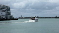 Port of Auckland (NZ) boat leaves Stock Footage