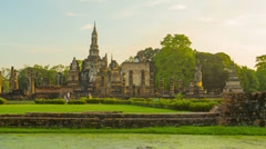 Ruins of ancient buddhist temples in the evening. thailand, sukhothai Stock Footage