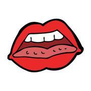 cartoon sexy lips symbol - stock illustration