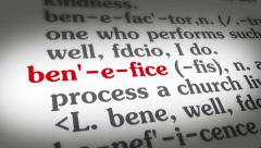Dictionary Benefice Stock Footage
