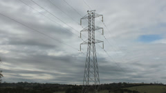 Power Lines - Timelapse - Clouds passing by lines Stock Footage