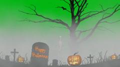 Skeleton in fog in the cemetery -happy halloween- green screen Stock Footage