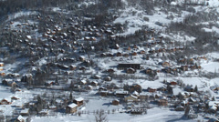 Allos Village Pan of Centre Stock Footage