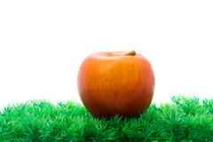 Red apple in green artificial grass Stock Photos
