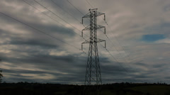 Power Lines - Timelapse 4k - Clouds passing by lines Stock Footage