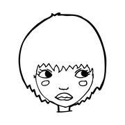 Stock Illustration of cartoon unhappy girl