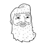 Stock Illustration of cartoon man with beard laughing