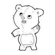 cartoon cute waving teddy bear - stock illustration