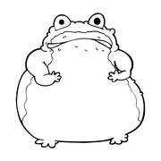 cartoon fat toad - stock illustration