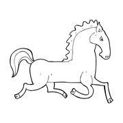 Stock Illustration of cartoon running black stallion