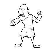 cartoon violent man - stock illustration
