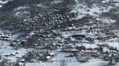 Allos Village Winter Detail Stock Footage