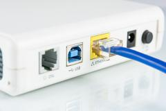 router network hub - stock photo