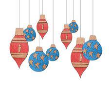christmas ornaments collection - stock illustration