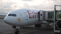 Concourse is panned while tourists deplane at international airport at Addis - stock footage