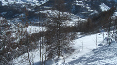 Allos Village Tilt from Frozen Tree to Mountains Stock Footage
