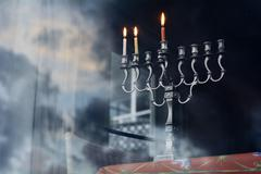 Hanukkah menorah on the second day of hanukkah Stock Photos