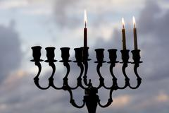hanukkah menorah on the second day of hanukkah - stock photo