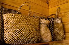 maori flax bags - stock photo