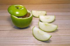 apple in honey for rosh hashanah - stock photo
